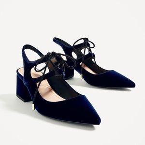 Zara Blue Velvet Slingback Heels